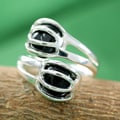 Sterling Silver 'Love Attraction' Onyx Ring (India)