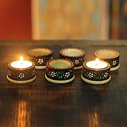 Set of 6 Soapstone 'Midnight Romance' Candleholders (India)
