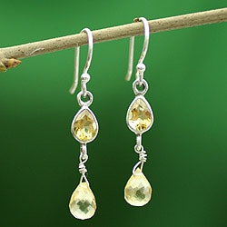 Sterling Silver 'Mumbai Sun' Citrine Earrings (India)