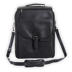 Leather Men's 'Out of Office in Black' Large Messenger Bag (Mexico)
