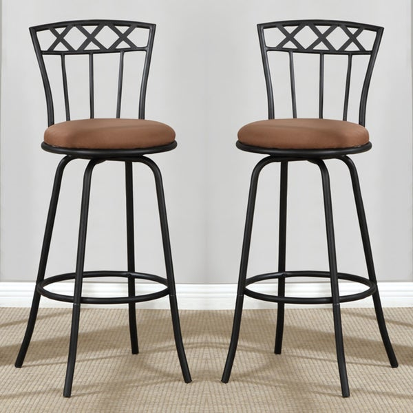 ... Black Adjustable Metal Swivel Counter Height Bar Stools (Set of 2