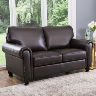 Abbyson Living London Dark Brown Italian Leather Loveseat