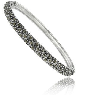 Dolce Giavonna Silver Over Brass Marcasite Criss-cross Bangle