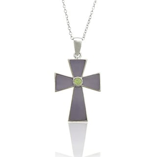 Dolce Giavonna Sterling Silver Purple Jade Cross Pendant