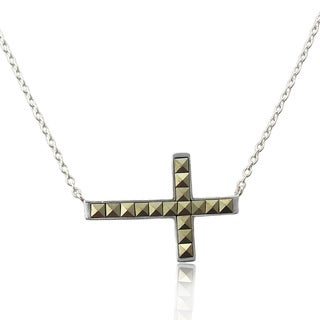 Dolce Giavonna Sterling Silver Square Marcasite Sideways Cross Pendant