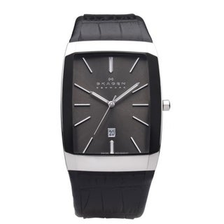 Skagen Men's Black Label Leather Strap Watch