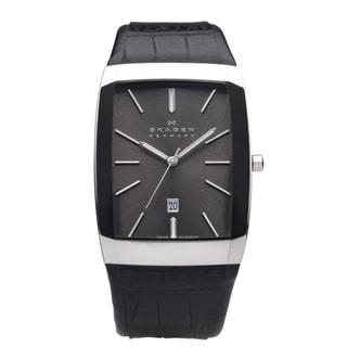 Skagen Men's Black Label Leather Strap Watch