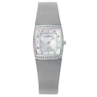 Skagen Women's Crystal-accented Mesh Bracelet Watch