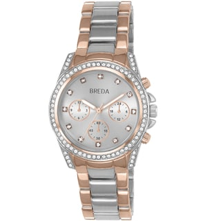 Breda Women's 'Khloe' Two-tone Rhinestone Watch