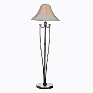 Windsor 1-light Brushed Steel and Copper Floor Lamp