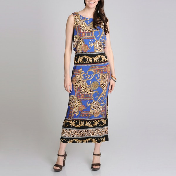 R & M Richards Women's Status Scarf Print Maxi Dress