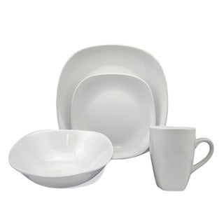 Lorren Home Trend 'White' 16-piece Square Stoneware Dinnerware Set