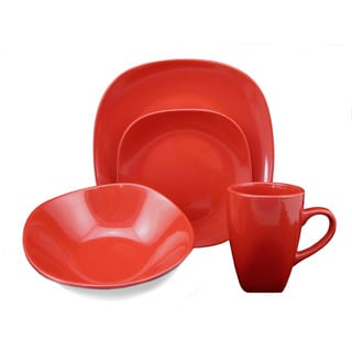 Lorren Home Trend 'Red' 16-piece Square Stoneware Dinnerware Set