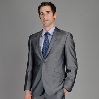Men's Slim Fit Black Teakweave 2-Button Suit