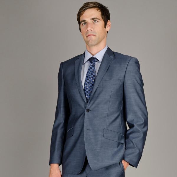 Men's Slim Fit Blue Sharkskin 2-Button Suit