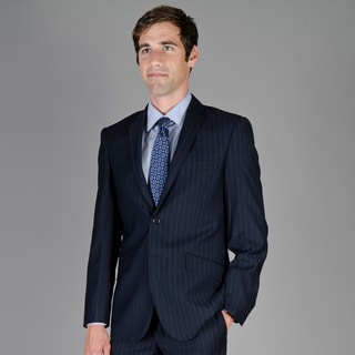 Giorgio Fiorelli Men's Slim Fit Navy Shadow Stripe 2-Button Suit
