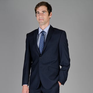 Men's Slim Fit Navy Shadow Stripe 2-Button Suit