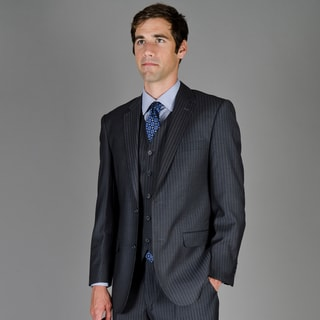 Men's Black Stripe 2-Button Vested Suit