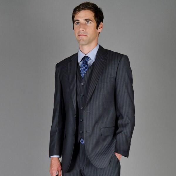 Men's Black Stripe 2-Button Vested Suit