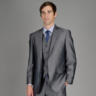 Men's Black Teakweave 2-Button Vested Suit