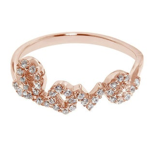 Eternally Haute Rose Gold over Silver Cubic Zirconia Pave 'Love' Ring
