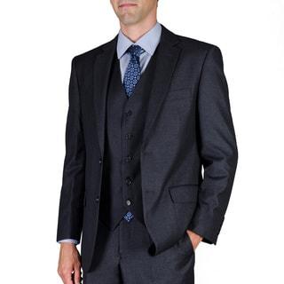 Men's Solid Charcoal 2-Button Vested Suit