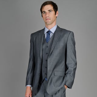 Giorgio Fiorelli Men's Grey Shadow Stripe 2-Button Vested Suit