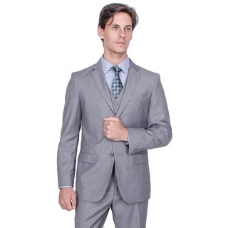 Giorgio Fiorelli Men's Solid Grey 2-Button Vested Suit