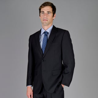 Giorgio Fiorelli Men's Black Shadow Stripe 2-Button Suit
