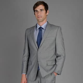 Men's Black and White Birdseye 2-Button Suit