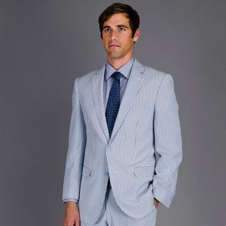 Men's Blue Seersucker 2-Button Suit