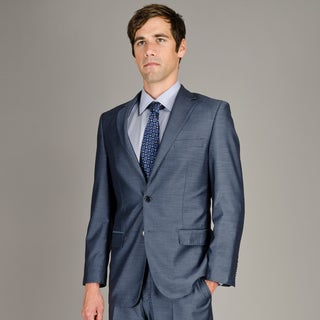 Men's Blue Sharkskin 2-Button Suit