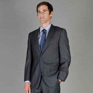 Men's Casual Charcoal Stripe Two-Button Suit
