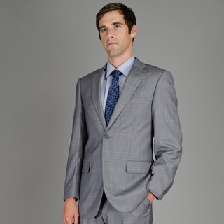 Men's Charcoal Windowpane 2-Button Suit