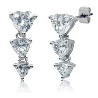 Eternally Haute Silver-plated Cubic Zirconia Heart Drop Earrings