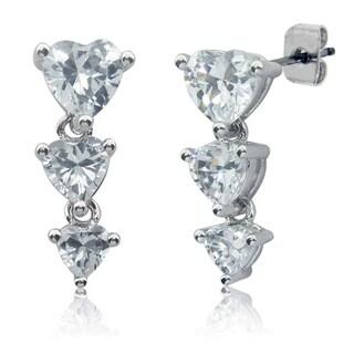 Eternally Haute Silver-plated Cubic Zirconia Heart Drop Earrings