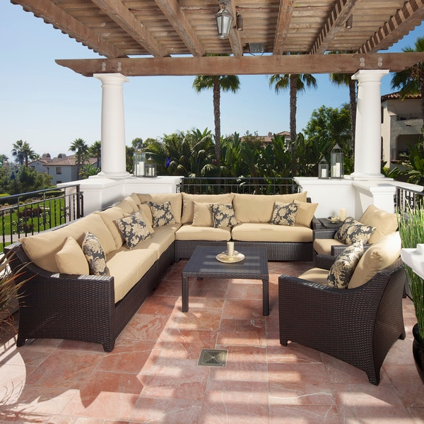 RST Delano 9-piece Corner Sectional Sofa and Club Chairs Set Patio Furniture