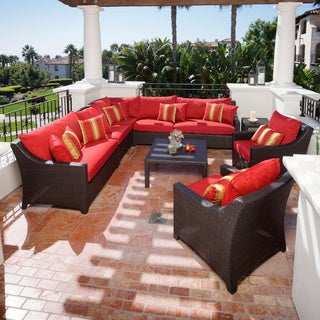 RST Cantina 9-piece Corner Sectional Sofa and Club Chairs Set Patio Furniture