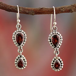 Sterling Silver 'Love Song' Garnet Earrings (India)