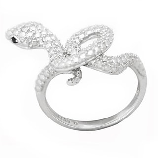 De Buman Sterling Silver Diamond and Black CZ Snake Ring
