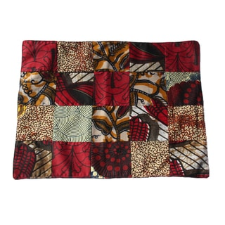 Set of Six Maroon Place Mats and Napkins (Rwanda)