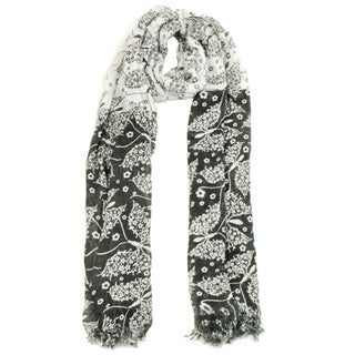 Black/White Summer Floral Scarf (India)