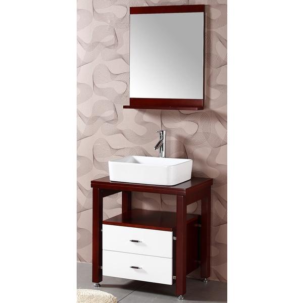 Wood top single vessel sink bathroom vanity with matching mirror