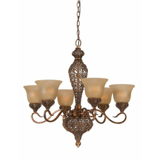 Crown Jewell 6-light Chandelier in Gold Leaf Finish