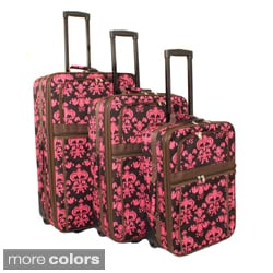 World Traveler Damask Expandable 3-piece Upright Luggage Set