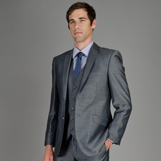 Men's Slim Fit Grey Sharkskin 2-Button Vested Suit
