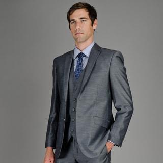 Men's Slim Fit Grey Sharkskin 2-Button Vested Suit