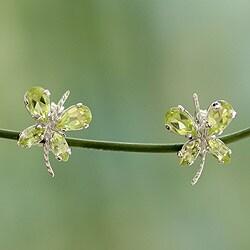 Sterling Silver 'Slender Butterfly' Peridot Earrings (India)
