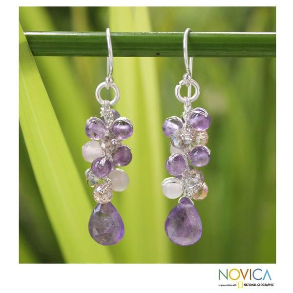 Sterling Silver 'Purple Pink Glam' Amethyst Earrings (Thailand)