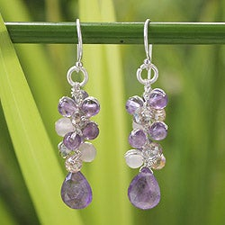 Sterling Silver 'Purple Pink Glam' Amethyst Earrings (Thailand)